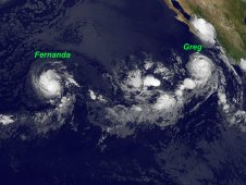 GOES-11 caught Tropical Storm Fernanda (left) and Hurricane Greg (right) on August 18 at 1200 UTC.