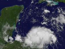GOES-13 captured Tropical Depression 8 at the Honduran coastline on August 19 at 1431 UTC (10:31 a.m. EDT).