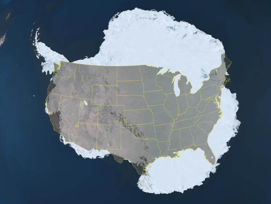 Antarctica with the continental United States overlaid on top for size comparison.