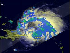 This image of Irene from TRMM was taken at 15:57 UTC (11:57 a.m. EDT) on August 22, 2011.