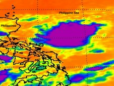 AIRS infrared image showing Tropical Depression 14W on August 22 at 17:23 UTC (1:23 p.m. EDT).