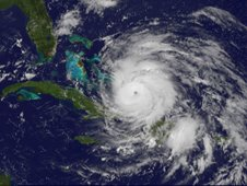 GOES-13 satellite saw Hurricane Irene entering the Bahamas on August 24, 2011 at 1302 UTC (9:02 a.m. EDT).