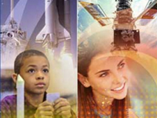 A collage of students, the space shuttle and the Hubble Space Telecope
