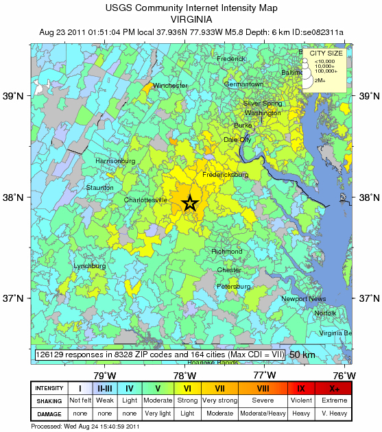 USGS intensity map of Aug. 23, 2011, Virginia quake
