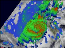 This is a 3-D Image of Hurricane Irene's clouds and rainfall at 7:11 p.m. EDT on August 23, 2011.