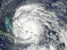 MODIS captured a visible image of Hurricane Irene's eye on August 24, 2011 at 12:15 p.m. EDT.