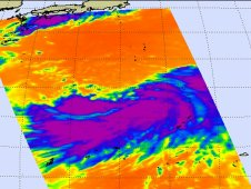 AIRS infrared image shows Tropical storm Talas on August 25 at 4:00 UTC (12:00 a.m. EDT).