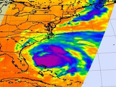 AIRS infrared image of Hurricane Irene on August 26 at 2:59 a.m. EDT (06:59 UTC).