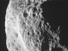 View taken by NASA's Cassini spacecraft of Saturn's moon Hyperion (for the side view)