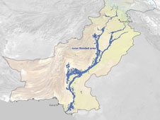 Map of floods near Pakistan