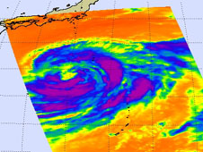 This infrared image of Tropical Storm Talas cold clouds was taken by the AIRS instrument on NASA's Aqua satellite on Aug. 28 at 11:35 p.m. EDT.