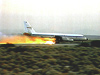 NASA CV-990, modified as a Landing Systems Research Aircraft (LSRA), lands on the Edwards AFB main runway.