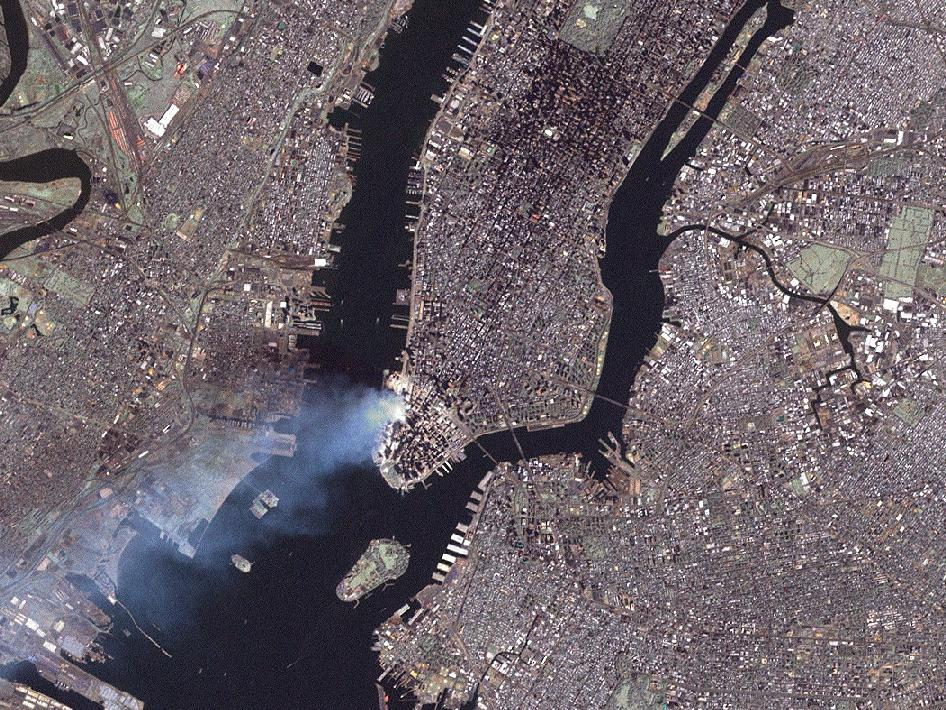 This true-color image was taken by the Enhanced Thematic Mapper Plus (ETM+) aboard the Landsat 7 satellite on September 12, 2001, at roughly 11:30 a.m. Eastern Daylight Savings Time.