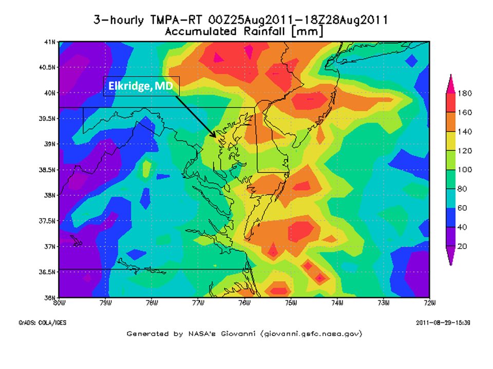 nasa measures irene s record rain totals from space wired