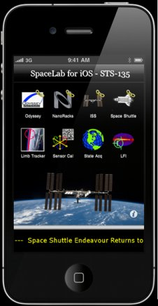 Screenshot of SpaceLab for iOS app. (Courtesy of Odyssey Space Research)