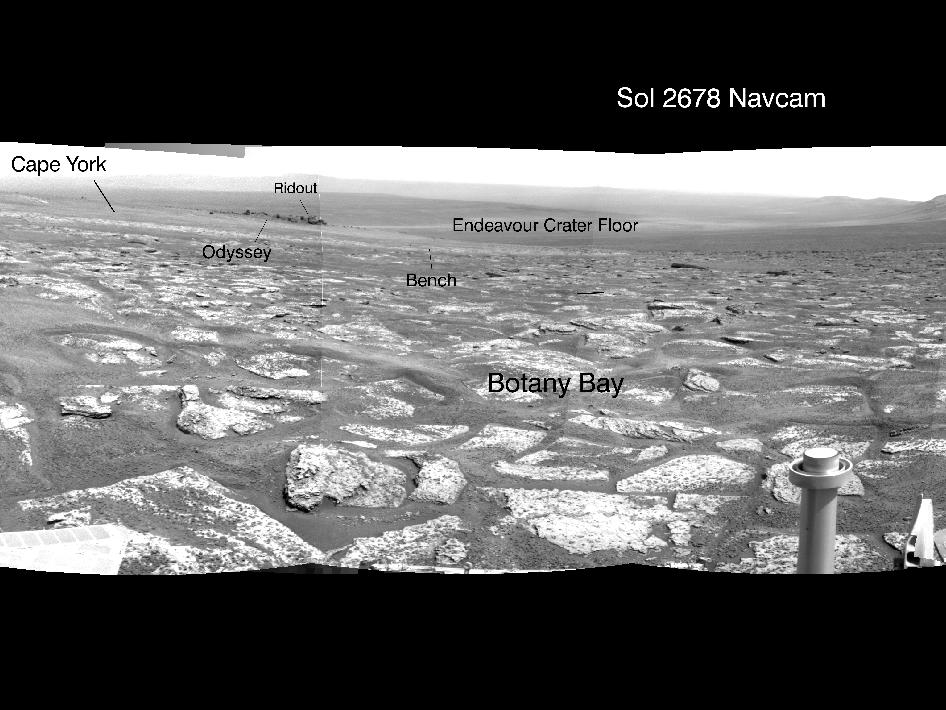 Opportunity's View Across 'Botany Bay' and Endeavour on Sol 2678