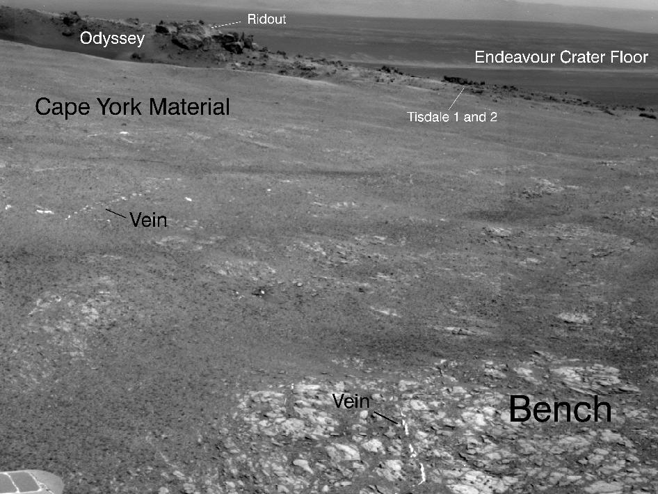 Bright Veins in 'Botany Bay' on rim of Endeavour Crater on Mars