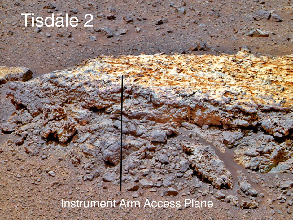 Rock 'Tisdale 2' on Endeavour Crater rim (false color)