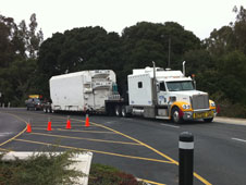 Truck bearing NPP climate satellite arrives at Vandenburg