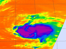 This infrared image, taken on Sept. 1 at 12:47 a.m. EDT., of Tropical Storm Katia's cold clouds shows large areas of strong convection (purple) surrounding center.