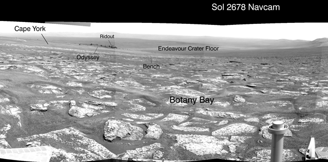 Opportunity's view across  'Botany Bay'