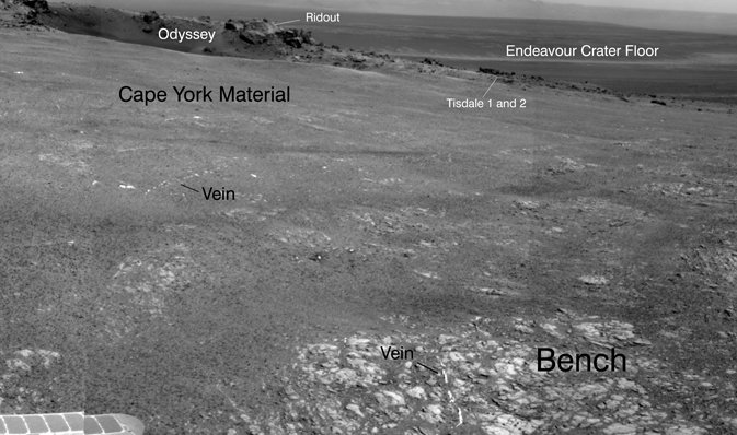 Bright veins cutting across outcrop in a section of Endeavour crater's rim called 'Botany Bay'