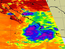 This infrared image of the remnants of Tropical Depression 8E shows the coldest clouds and strongest thunderstorms off shore from western Mexico.