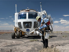Desert RATS crew member Megan McArthur performs EVAs (Extra-Vehicular Activities). Photo credit: NASA/Regan Geeseman