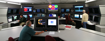 This photo shows the Space Weather Forecast Office which is the heart of the NOAA Space Weather Prediction Center.