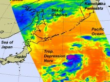 Infrared image of Tropical Storm Noru as taken by AIRS on Sept. 5 at 10:53 p.m. EDT.