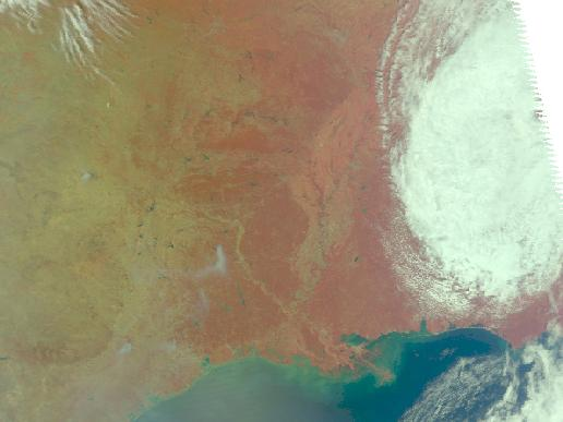 MODIS image of fires in Texas