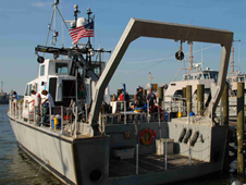 a NOAA SRV-x research ship at harbor in Annapolis