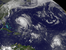 GOES image of Tropical Storm Maria and Hurricane Katia