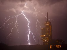 Lightning strikes near shuttle Endeavour