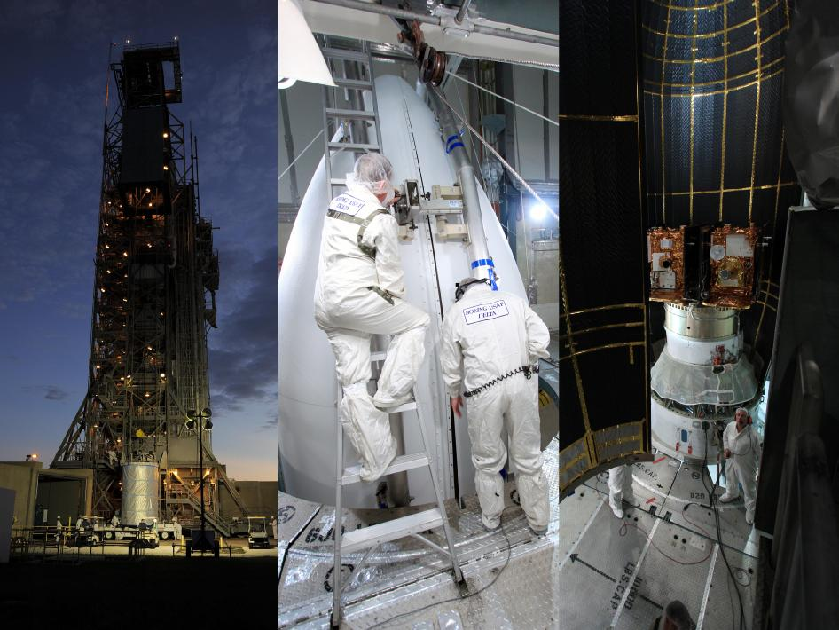 Stages of pre-launch preparations of NASA's twin GRAIL spacecraft