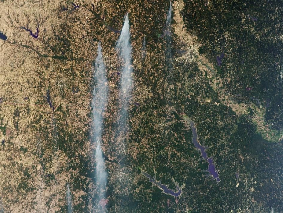 NASA's MISR instrument on its Terra spacecraft captured this image of wildfires burning throughout eastern Texas on Sept. 5, 2011.