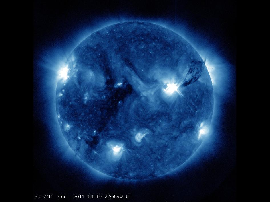 Leaping off the sun to the right is a giant plume of solar material – ionized gas called plasma – from sunspot 1283.