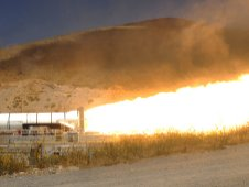 NASA and ATK five segment solid rocket motor fires during the Development Motor 3 test in Promontory, Utah Sept. 8, 2011.