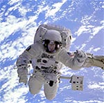Astronauts must wear protective gear while outside their spacecraft.
