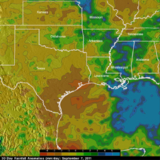 The TMPA rainfall analysis showed a stark contrast between Lee's rains and the drought to the west.