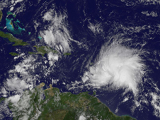 GOES image of Maria on Sept. 9, 2011