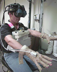An astronaut uses virtual reality to train for a mission.