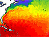 Map representing sea surface temperatures in the Gulf Stream in January 1997
