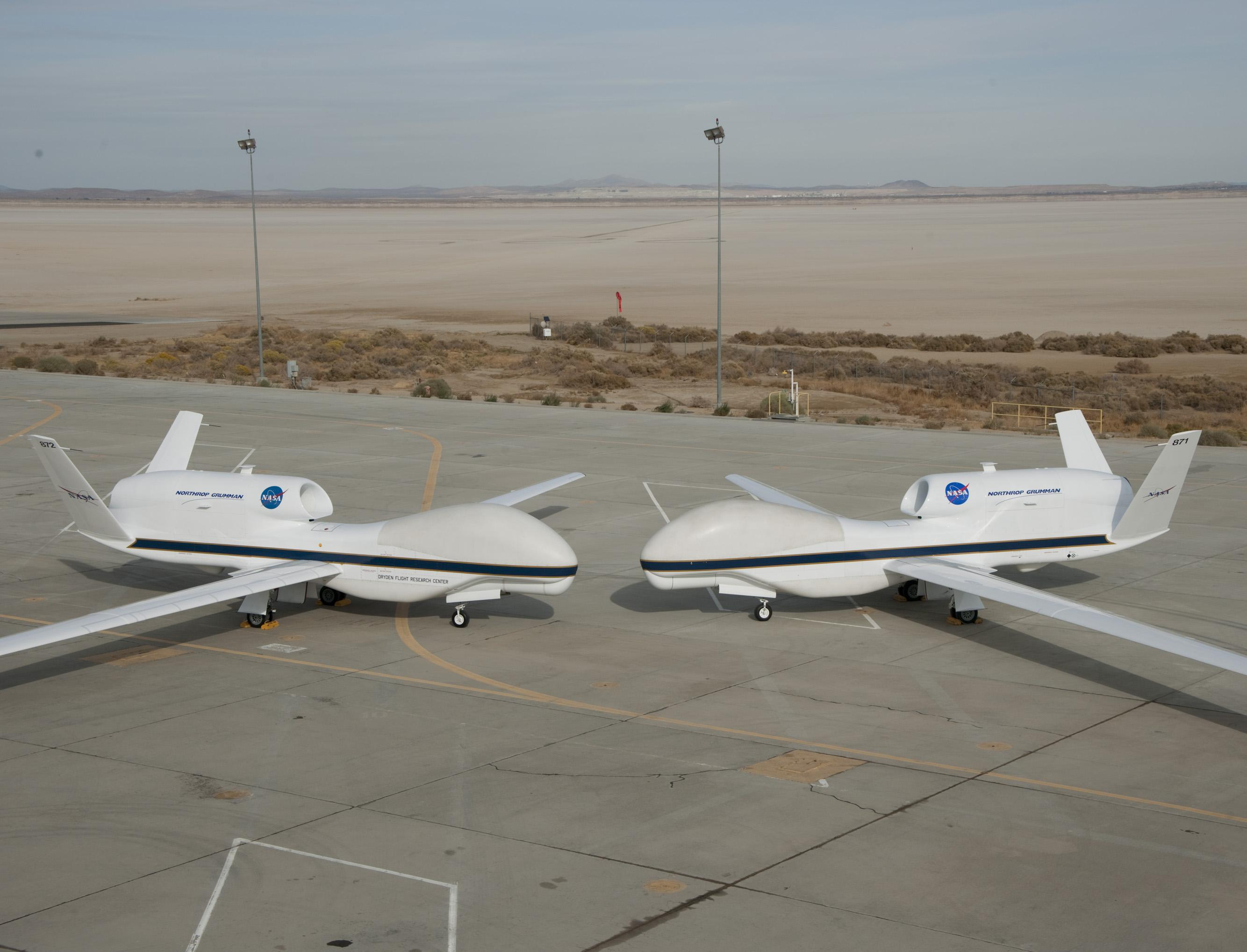 NASA s two Global Hawks lined up nose-to-nose on the ramp at NASA    Nasa Global Hawk