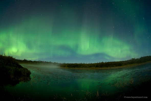The northern lights on Sept. 10 were bright enough to reflect in the aptly named Northern Lights Lake below.
