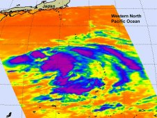 This infrared image of Tropical Depression Roke was captured by AIRS on Sept. 11 at 11:47 p.m. EDT.
