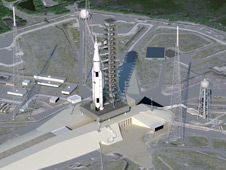 Concept image of Space Launch System (SLS) at launch pad.
