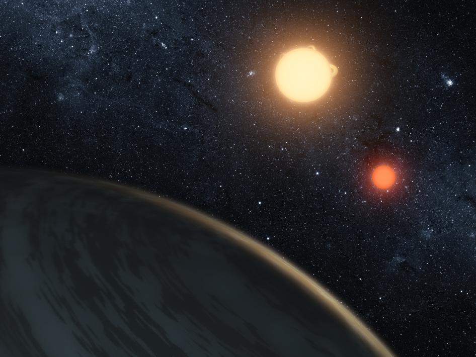 """有两颗太阳的行星""""开普勒16b""""(2011.9.20)- 每日天文一图摘译 - 秋天的麦兜 - 蜗牛壳"""