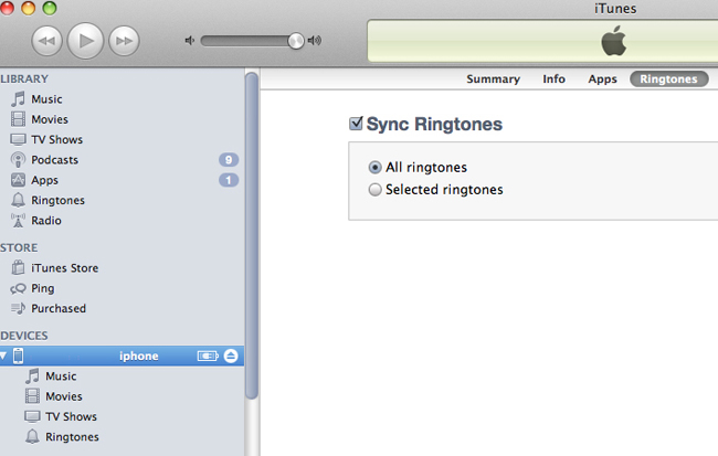 Image from iTunes to demonstrate how to sync up device with computer