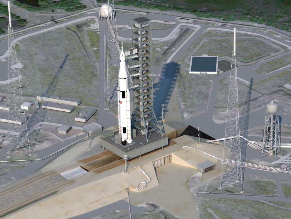 Artist concept of SLS on launchpad